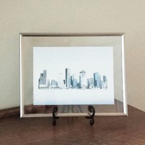 Houston Skyline Blue framed