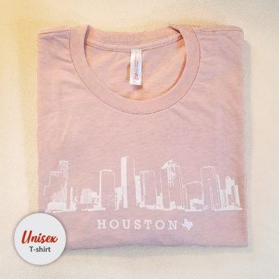 Houston Skyline unisex t-shirt heather peach