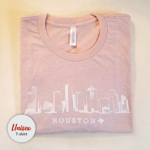 Houston Skyline unisex t-shirt heather peach