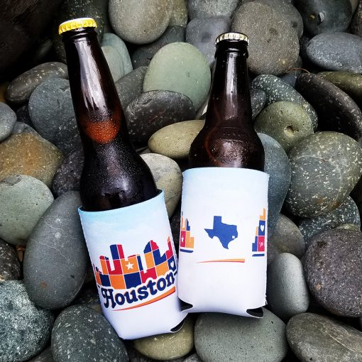 Houston Skyline Patchwork drink hugger
