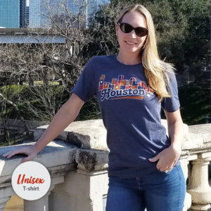 Unisex Houston Skyline Patchwork tshirt