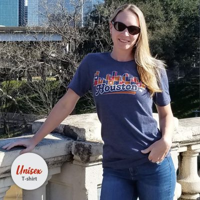 Unisex Houston Skyline Patchwork tshirt