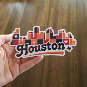 "Houston Skyline Patchwork 5"" x 2.4"" sticker"