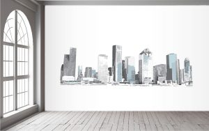 Houston Skyline Blues Wall Mural