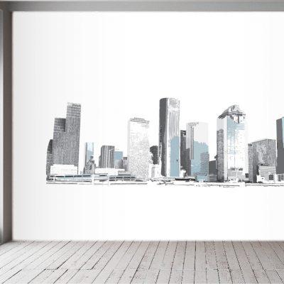 Houston Skyline Blues Wall Mural