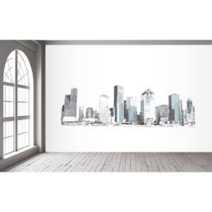 Houston Skyline Black Wall Mural