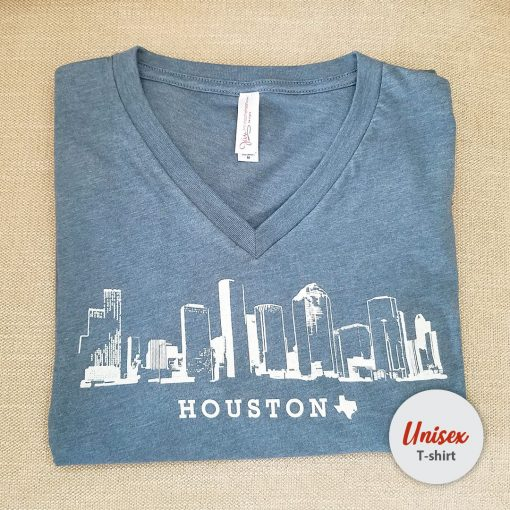 Houston Skyline unisex t-shirt v heather slate