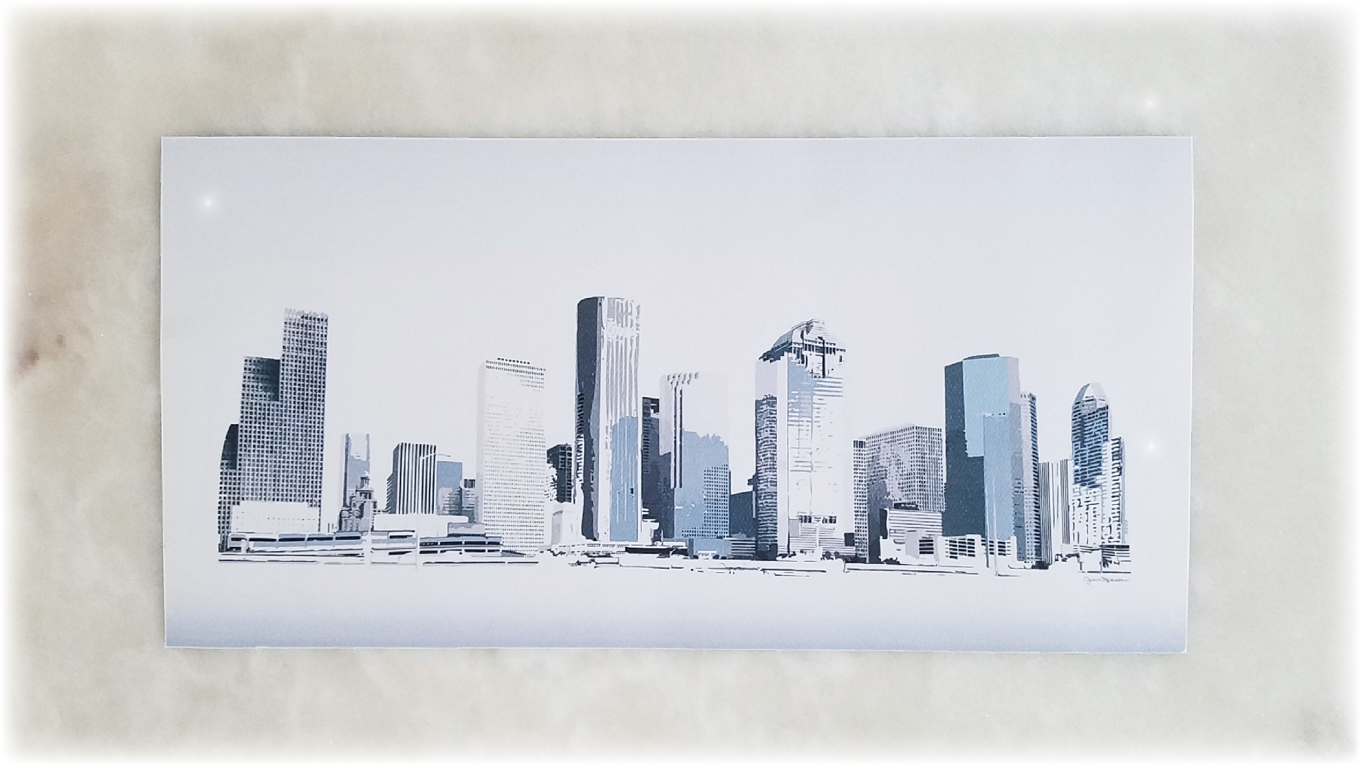 Houston Skyline blue tones print