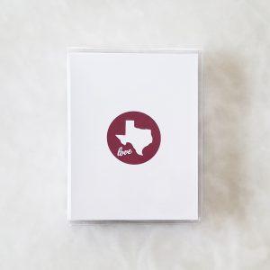 Note Cards - Texas Love maroon box